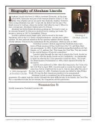 abraham lincoln th grade reading comprehension worksheet about this worksheet