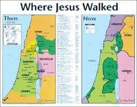 Where Jesus Walked Then Now Laminated Wall Chart