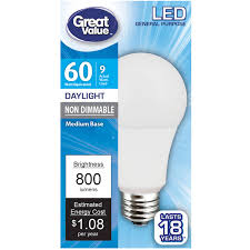 60 Watt Light Bulb Walmart Great Value Led Light Bulb 9w 60w Equivalent A19 Lamp E26 Medium Base Non Dimmable Daylight Walmart Com