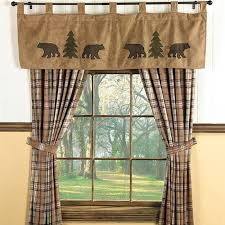 cabin curtains bear trees wildlife window curtains for cabins cabin shower curtain sets