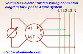 rotary switch connection diagram rotary image voltmeter selector switch wiring installation for 3 phase 4 wire on rotary switch connection diagram