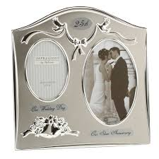 amazon two tone silverplated wedding anniversary gift photo frame 25th silver silver gifts for anniversary