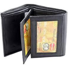 Tri Fold Window Mens Black Genuine Leather Trifold Wallet Id Window Credit Card Case Holder