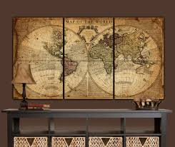 >globe tan map world map canvas vintage map set large wall  zoom