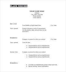 Blank Resume Form Resume Templates