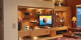 wall accent lighting. High End Custom Designed Home Media Wall With Floating Panel LCD TV Mount, Natural Stacked Accent Lighting