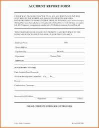 Form For Accident Incident Report Work Incident Report Template Classic 5 Workplace Accident Report