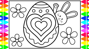 Easter coloringpage crucifixion of jesus. How To Draw Easter Bunny Easter Egg Designs Hearts Coloring Page Easter Coloring Pages For Kids Youtube