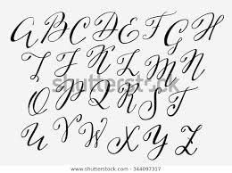 Handwritten Calligraphy Flourish Font Capital Letters Stock