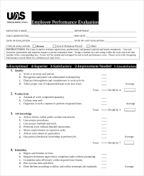 Examples Of Performance Review Job Performance Evaluation Sample Business Template