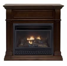 procom walnut ventless gas fireplace dual use surround thermostat control natural gas or