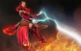 wallpaper lightning girl art fire lina the slayer dota 2