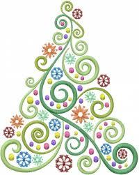 Christmas Swirls Christmas Tree Swirl Embroidery Design