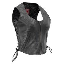 first manufacturing raven women s leather vest 4x large size black