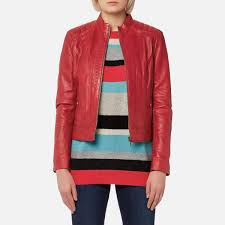 boss orange women s janabelle3 leather jacket medium red