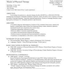 Massage Therapist Resume Resume Template Physical Therapist New Graduate Objective Samples 79