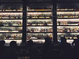 stock photo silhouette night restaurant bar crowded shelves liquor