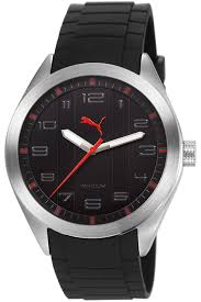 men s black puma pace rubber strap watch pu103321004