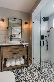 traditional shower designs. Walk In Shower Designs Patterned Black And White Floor Dark Showers Frameless Glass Door Wood Cabinet Mirror Traditional Wall Sconces Marble Countertop K