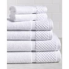white bath towel. Espalma Diplomat 6-Piece 100% Cotton Bath Towel Set In White