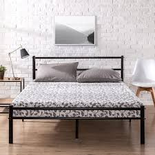 Zinus Geraldine 12 inch Black Metal Platform Bed Frame with Headboard and Footboard / Premium Steel Slat Support / Mattress Foundation, King