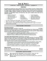Human Resource Resume Resources Generalist Entry Level Sample