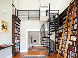 Interior:Terrific Home Library Interior Decor With Iron Spiral Staircase  Also Wooden Ladder And Built