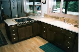 dark oak kitchen cabinets. Black Color Staining Oak Kitchen Cabinets With White Countertop Steel Sinks And Dishwasher Plus Large Glass Window Laminate Floor Tiles Ideas Dark