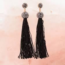 black tassel and crystal chandelier earrings