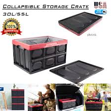 55L <b>Collapsible Plastic Storage</b> Box Durable Stackable Folding ...