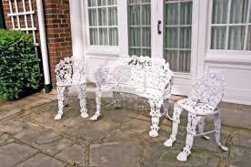 Wrought Iron Wicker Outdoor Furniture White Chair White Cast Iron