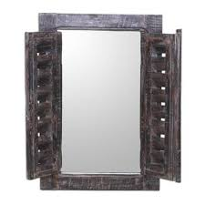 shuttered brown wood wall mirror from