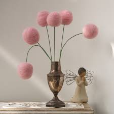 Small Picture Wool Pom Pom Flowers felt Craspedia Billy Button Ball Bloom home
