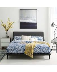 Modway Modway Luella Mid-Century Modern Upholstered Fabric Queen Sled Platform Bed Frame With Headboard In Walnut Gray from Amazon   BHG.com Shop