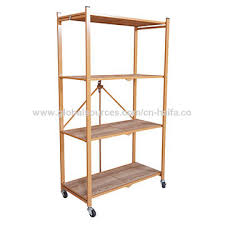 china home use portable heavy duty metal folding rolling shelving racks unit with wheels