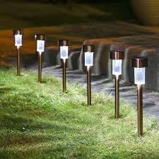 com sogrand 12pcs pack solar lights outdoor stainless steel solar light landscape lighting solar pathway lights for lawn patio yard