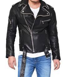 men s double zip collar lambskin black leather biker jacket