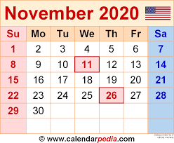 November 2020 Calendars For Word Excel Pdf