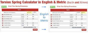 Spring Rate Calculator In English And Metric The Spring Store