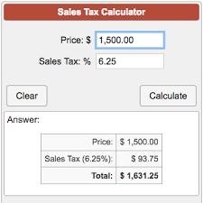 6 25 Sales Tax Chart Sales Tax Calculator