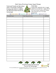 food sign up sheet healthy holiday guest planning sheet