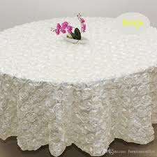 whole 120 inches white color wedding table cloth round overlays 3d rose petal round tablecloths wedding decoration supplier 60 inch round tablecloth