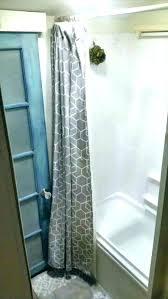 rv corner shower shower remodel shower rod outdoor shower curtain rod remodel after great for tutorial