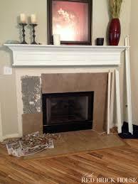 Tile Fireplace Makeover Fireplace Makeover Demo Pillar Construction Little Red Brick