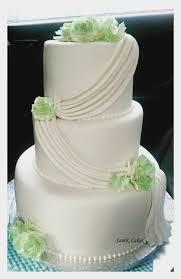 Simple Elegant 3 Tier White And Green Wedding Cake Cakecentralcom