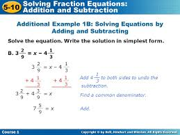 additional example 1b solving equations by adding and subtracting