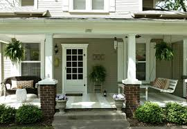 Decorations:Charming Contemporary Front Porch Design With Half Brick  Outdoor Pillar And Beautiful Decoration Charming