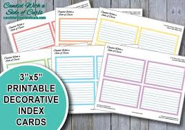 3x5 Cards 3x5 Printable Decorative Pastel Index Cards