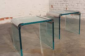 vintage pair chrome and glass side tables by the pace collection