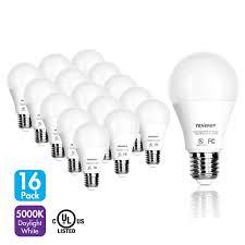 Tenergy Led Light Bulb 9 Watts Equivalent A19 E26 Medium Standard Base 5000k Daylight White Energy Saving Light Bulbs For Officehome Pack Of 16
